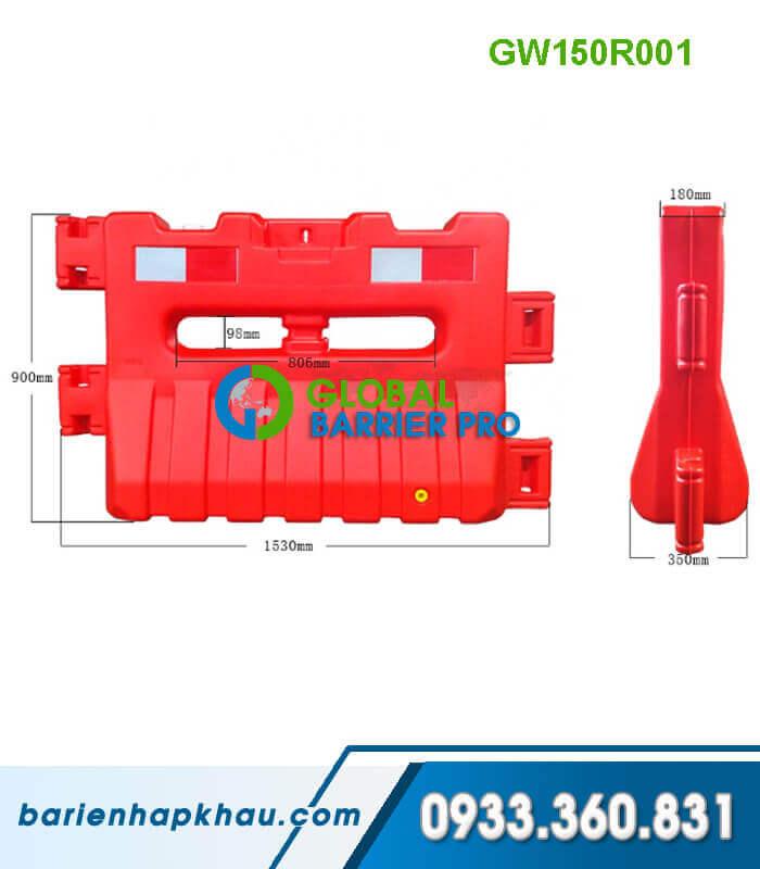 Dải phân cách nhựa chứa nước màu đỏ 1560*350*180*900mm