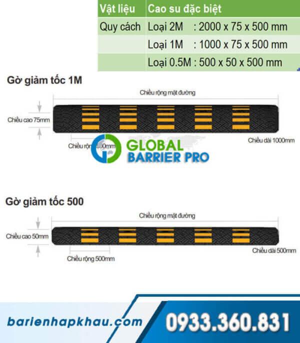 Gờ giảm tốc cao su loại lắp rắp, được sản xuất từ cao su đặc biệt, dài 0.5M, 1M, 2M